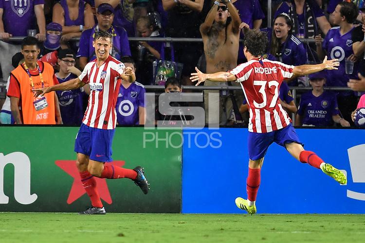Orlando, FL - Wednesday July 31, 2019:  Marcos Llorente #14, Goal Celebration, Rodrigo Riquelme #32 during the Major League Soccer (MLS) All-Star match between the MLS All-Stars and Atletico Madrid at Exploria Stadium.