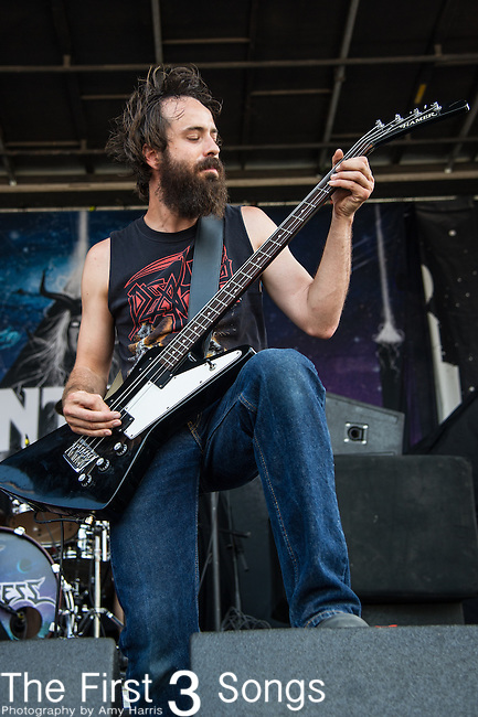 Ian Alden of Huntress performs during the 2013 Mayhem Festival at Klipsch Music Center in Indianapolis, Indiana.