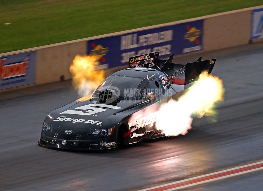 Jul 21, 2018; Morrison, CO, USA; NHRA funny car driver Cruz Pedregon during qualifying for the Mile High Nationals at Bandimere Speedway. Mandatory Credit: Mark J. Rebilas-USA TODAY Sports