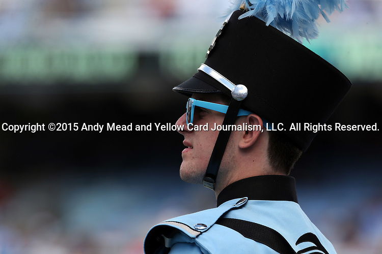 19 September 2015: UNC band member. The University of North Carolina Tar Heels hosted the University of Illinois Fighting Illini at Kenan Memorial Stadium in Chapel Hill, North Carolina in a 2015 NCAA Division I College Football game. UNC won the game 48-14.