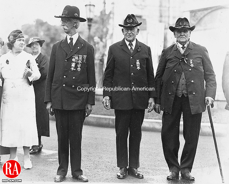 1935 - WATERBURY - Homer F. Northrup, Niles J. Engelke, and Wales Porter, three of the last four remaining Civil War veterans being honored during the local Grand Army of the Republic Decoration Day in Waterbury, 1935. Not pictured and the fourth remaining Civil War veteran was Edward A. Hough. Republican-American Archives