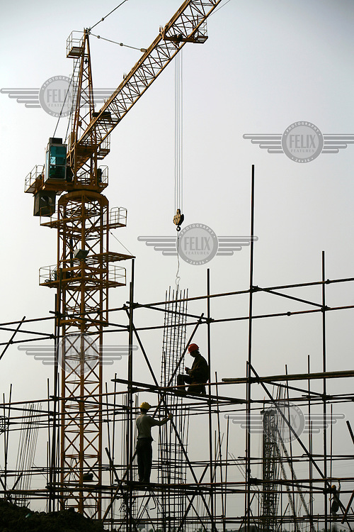 A crane towers above construction labourers working high up on the scaffolding of a development site..