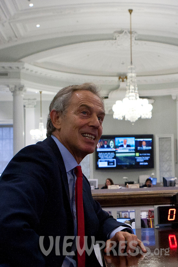 Former British Prime Minister Tony Blair visits New York Mayor Michael Bloomberg at the City Hall in New York , April 11, 2013. VIEWpress /Kena Betancur