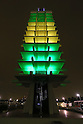 General view, APRIL 27, 2016 : <br /> Light-up exhibition in Brazil national color<br /> at the Olympic Memorial Tower in Komazawa Olympic Park, Tokyo, Japan, <br /> The event marks the 100-day point before the opening ceremony for the Rio 2016 Olympic Games, <br /> (Photo by Yohei Osada/AFLO SPORT)