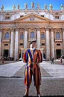Pontifical Swiss Guard.The Corps of the Pontifical Swiss Guard or Swiss Guard,Guardia Svizzera Pontificia,responsible for the safety of the Pope, including the security of the Apostolic Palace. It serves as the de facto military of Vatican City..Pope Benedict XVI arrives to celebrate a Mass in memory of the late Pope John Paul II on the second anniversary of his death, at St. Peter's Basilica at the Vatican, Monday, April 2, 2007. Roman Catholics marked the second anniversary of Pope John Paul II's death Monday with vigils in his native Poland and a ceremony earlier in Rome to seal shut - with red ribbons and wax - documents on the pope's life that are vital to making him a saint..