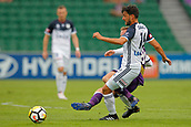 25th March 2018, nib Stadium, Perth, Australia; A League football, Perth Glory versus Melbourne Victory; Matias Sanchez of Melbourne Victory passes the ball as Neil Kilkenny of Perth Glory comes in to tackle during the first half