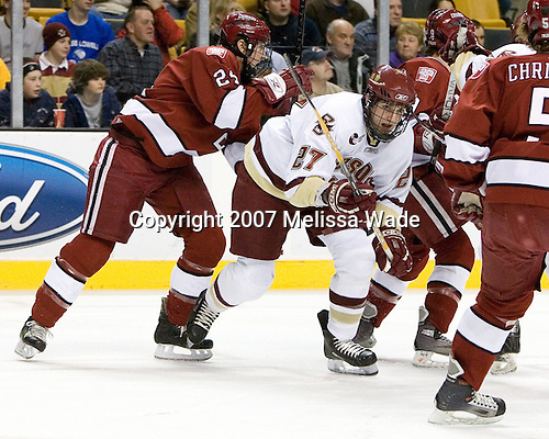 JD McCabe (Harvard University - Jamison, PA), Andrew Orpik (Boston College - East Amherst, NY) - The Boston College Eagles defeated the Harvard University Crimson 3-1 in the first round of the 2007 Beanpot Tournament on Monday, February 5, 2007, at the TD Banknorth Garden in Boston, Massachusetts.  The first Beanpot Tournament was played in December 1952 with the scheduling moved to the first two Mondays of February in its sixth year.  The tournament is played between Boston College, Boston University, Harvard University and Northeastern University with the first round matchups alternating each year.