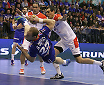 12.01.2013 Granollers, Spain. IHF men's world championship, prelimanary round. Picture show Gregorie Detrez  in action during game between France vs Tunisia at Palau d'esports de Granollers