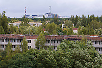 Chernobyl Nuclear Power Plant from the deserted town Pripyat.<br />
