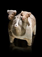 Bronze Age Anatolian terra cotta vtwo headed bull shaped ritual vessel - 19th to 17th century BC - Kültepe Kanesh - Museum of Anatolian Civilisations, Ankara, Turkey.  Against a black background.