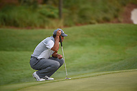 Tiger Woods (USA) lines up his birdie putt on 2 during round 3 of The Players Championship, TPC Sawgrass, at Ponte Vedra, Florida, USA. 5/12/2018.<br /> Picture: Golffile | Ken Murray<br /> <br /> <br /> All photo usage must carry mandatory copyright credit (&copy; Golffile | Ken Murray)