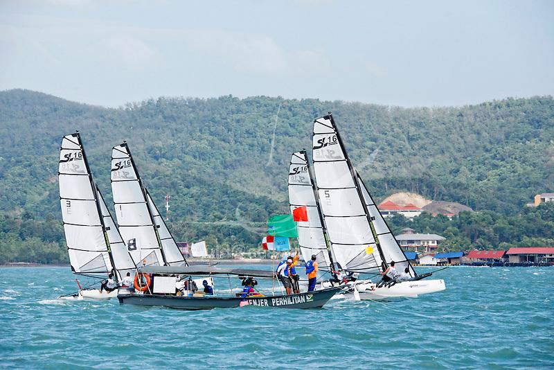 Sirena SL16 Fleet.<br /> Day4, 2015 Youth Sailing World Championships,<br /> Langkawi, Malaysia