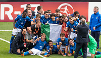 The Italy U17 side celebrate at full time during the UEFA Under-17 Euro Championship semi-final match between Italy and Belgium at the New York Stadium, Rotherham, England on 17 May 2018. Photo by Andy Rowland.