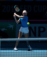 8th November 2019; RAC Arena, Perth, Western Australia, Australia; Fed Cup by BNP Paribas Final Tennis, Australia versus France, Practice Day; Kristina Mladenivic of France plays a backhand shot during practise - Editorial Use