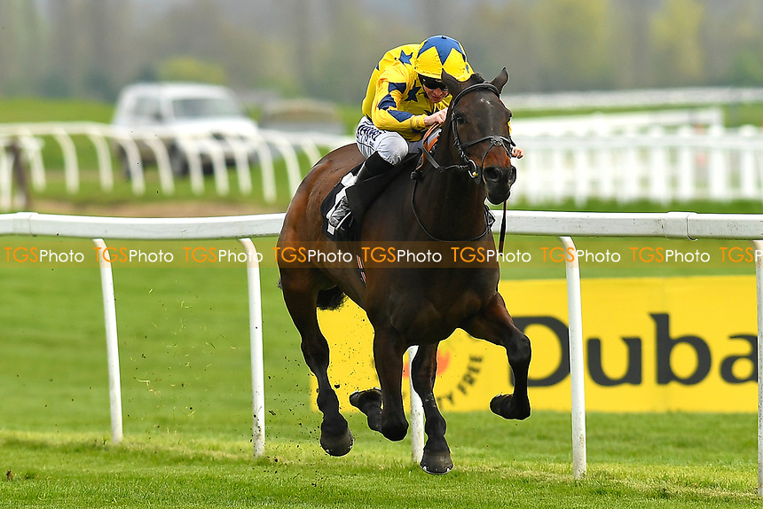 Winner of The Compton Beauchamp Estates Ltd Silver Bar Handicap Stakes Ceur Blimey yellow cap ridden by David Probert and trained by Susan Gardner during Racing at Newbury Racecourse on 12th April 2019