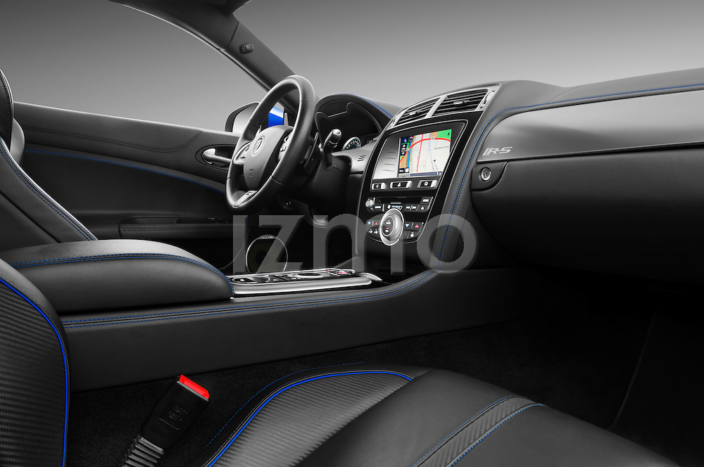 Passenger side dashboard view of a 2012 Jaguar XKR-S Coupe .