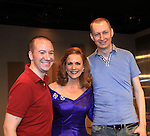"""We Love Soaps Roger and Kevin pose with Colleen Zenk - As The World Turns - stars in Looped - about Tallulah Bankhead - original premiere - at Stageworks/Hudson Theater Outside The Box on July 14, 2013 running until July 28 - also stars Michael Rhodes and Steve Austin Young. """"All he needed was one line . . . All Tallulah needed was eight hours . . .""""  (Photo by Sue Coflin/Max Photos)"""