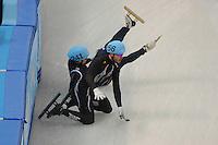 OLYMPICS: SOCHI: Iceberg Skating Palace, 13-02-2014, Shorttrack, 5000m Relay Men, Semifinals, Ho-Suk Lee (#241 | KOR), Eduardo Alvarez (#256 | USA), ©photo Martin de Jong