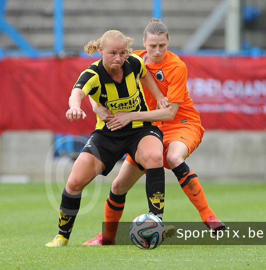 Bekerfinale vrouwen 2015 : Lierse-Club Brugge Vrouwen <br /> <br /> Stevig duel met Heleen Jaques (R) en Dominique Vugts (L)<br /> <br /> foto VDB / BART VANDENBROUCKE