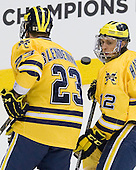 Luke Glendening (Michigan - 23), Carl Hagelin (Michigan - 12) - The University of Minnesota-Duluth Bulldogs defeated the University of Michigan Wolverines 3-2 (OT) to win the 2011 D1 National Championship on Saturday, April 9, 2011, at the Xcel Energy Center in St. Paul, Minnesota.