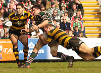 Leicester, ENGLAND,Guinness,  Tigers, Martin Corry makes a pass as Lawrence Dallagllio, puts in a flying tackle during the  Premiership Rugby match,  Leicester Tigers vs London Wasps at Welford Road, © Peter Spurrier/Intersport-images.com.