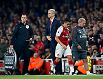 Arsenal's Alexis Sanchez doesn't shake Arsene Wenger's hand when substituted during the premier league match at the Emirates Stadium, London. Picture date 25th September 2017. Picture credit should read: David Klein/Sportimage