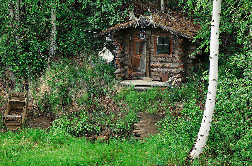 Miners cabin next to a stream, Fairbanks, Alaska