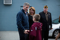 Senator Scott Brown (R-MA) and wife Gail Huff speak with Nolan Houlihan, 10, of Billerica, after a campaign rally at VFW Post 88  in North Billerica, Massachusetts, USA, on Thurs., Nov. 2, 2012. Senator Scott Brown is seeking re-election to the Senate.  His opponent is Elizabeth Warren, a democrat.