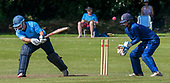 Cricket Scotland - the Citylets Scottish Cup Final between Carlton CC V Heriots CC at Meikleriggs, Paisley (Ferguslie CC) - Carlton's Ali Shah reverse sweeps the ball on to his stumps for 6 - Heriots keeper Elnathan Meiri - picture by Donald MacLeod - 25.08.19 - 07702 319 738 - clanmacleod@btinternet.com - www.donald-macleod.com