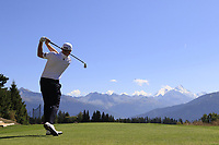 Stephen Gallacher (SCO) tees off the 7th tee during Sunday's Final Round 4 of the 2018 Omega European Masters, held at the Golf Club Crans-Sur-Sierre, Crans Montana, Switzerland. 9th September 2018.<br /> Picture: Eoin Clarke | Golffile<br /> <br /> <br /> All photos usage must carry mandatory copyright credit (&copy; Golffile | Eoin Clarke)