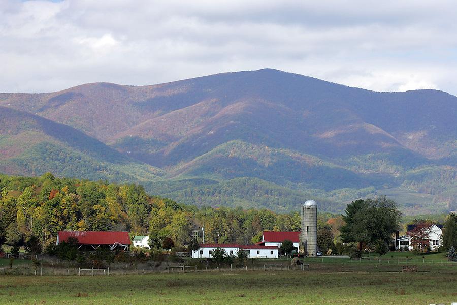 Mountain scenes and farm land.