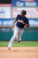 Toledo Mudhens left fielder Steven Moya (44) running the bases during a game against the Rochester Red Wings on June 12, 2016 at Frontier Field in Rochester, New York.  Rochester defeated Toledo 9-7.  (Mike Janes/Four Seam Images)