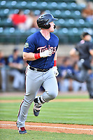 Elizabethton Twins Albee Weiss (41) runs to first base during a game against the Greenville Reds at Pioneer Park on June 29, 2019 in Greeneville, Tennessee. The Twins defeated the Reds 8-1. (Tony Farlow/Four Seam Images)
