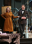 Kate Burton and Kevin Kline during Broadway Opening Night  curtain call for 'Present Laughter' at the St. James Theatre on April 5, 2017 in New York City.