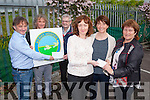 At the presentation of charity competition tickets to Bruce Springsteen were,  Breda Barry presenting tickets to Mary Dillane (2nd prize) and Susan King (1st prize) Eamon Barry and John Barry of Barry Packaging, presenting  a cheque to  Ted Moynihan of Kerry Hospice  for €2,120,