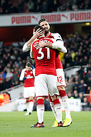GOAL - Olivier Giroud and Sead Kolasinac of Arsenal celebrate his goal during the Premier League match between Arsenal and Huddersfield Town at the Emirates Stadium, London, England on 29 November 2017. Photo by Carlton Myrie / PRiME Media Images.