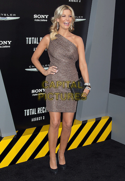 McKenzie Westmore.Premiere of 'Total Recall' held at The Grauman's Chinese Theatre in Hollywood, California, USA..August 1st, 2012.full length black beige brown one shoulder dress clutch bag embossed gun handgun pistol hand on hip.CAP/ADM/RE.©Russ Elliot/AdMedia/Capital Pictures.