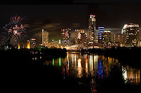 Austin Celebrates New Year's Eve Fireworks with a colorful Fireworks Display on Ladybird Lake in downtown Austin, Texas