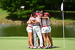 HOUSTON, TX - MAY 19: The University of Indianapolis celebrates after wining the team title during the Division II Women's Golf Championship held at Bay Oaks Country Club on May 19, 2018 in Houston, Texas. (Photo by Justin Tafoya/NCAA Photos via Getty Images)