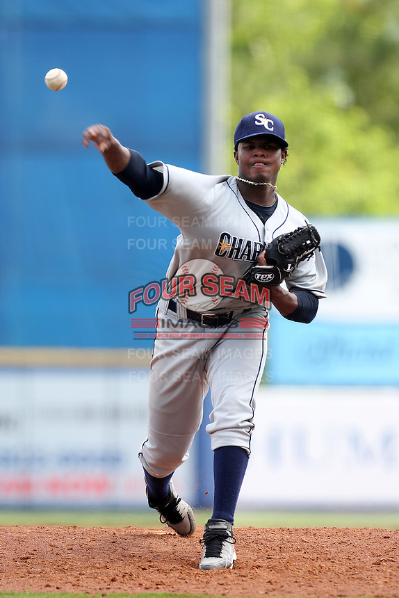 Charlotte Stone Crabs pitcher Alexander Colome #39 delivers a pitch during a game against the St. Lucie Mets at Digital Domain Park on June 21, 2011 in Port St Lucie, Florida.  St. Lucie defeated Charlotte 9-0.  (Mike Janes/Four Seam Images)