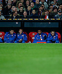 Nederland, Rotterdam, 30 oktober 2013<br /> KNVB Beker<br /> Seizoen 2013-2014<br /> Feyenoord-HSV Hoek<br /> De reservebank van Feyenoord. V.l.n.r.: Erwin Mulder, Jordy Clasie, Samuel Armenteros en Stefan de Vrij van Feyenoord.