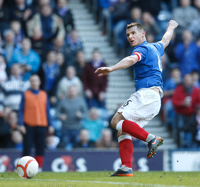 Lee McCulloch rolls the ball into the net for Rangers second goal against East Stirlingshire at Ibrox