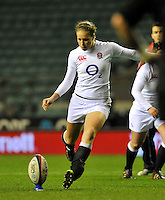 Rugby Union. Twickenham, England. Emily Scarratt of England during the QBE international match between England and New Zealand Black Ferns at Twickenham Stadium on December 01, 2012 in Twickenham, England.