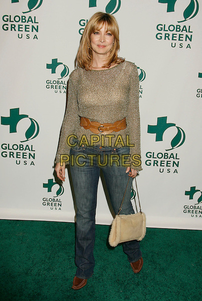 SHARON LAWRENCE.Global Green USA 3rd Annual Pre-Oscar Celebration to Benefit Global Warming held at Avalon, Hollywood, California, USA..February 21st, 2007.oscars full length gold beige top belt brown jeans denim purse bag .CAP/ADM/RE.©Russ Elliot/AdMedia/Capital Pictures