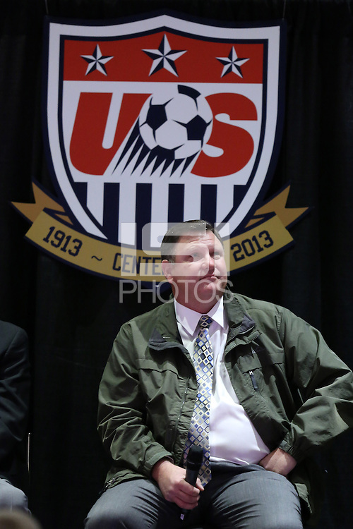 INDIANAPOLIS, IN - January 18, 2013: 1998 World Cup coach Steve Sampson. U.S. Soccer hosted a World Cup Coaches and Captains panel at the Indiana Convention Center in Indianapolis, Indiana during the NSCAA Annual Convention.