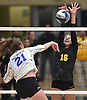 Natalie Billet #16 of Commack defends against a spike attempt by Emma McGovern #21 of Long Beach during the girls volleyball Class AA Long Island Championship at Farmingdale State College on Sunday, Nov. 11, 2018.