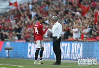 Manchester United manager Jose Mourinho and Jesse Lingard<br /> <br /> Photographer Rob Newell/CameraSport<br /> <br /> Emirates FA Cup - Emirates FA Cup Semi Final - Manchester United v Tottenham Hotspur - Saturday 21st April 2018 - Wembley Stadium - London<br />  <br /> World Copyright &copy; 2018 CameraSport. All rights reserved. 43 Linden Ave. Countesthorpe. Leicester. England. LE8 5PG - Tel: +44 (0) 116 277 4147 - admin@camerasport.com - www.camerasport.com
