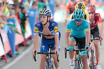 James Knox (GBR) Deceuninck-Quick Step crosses the finish line at the end of Stage 5 of La Vuelta 2019 running 170.7km from L'Eliana to Observatorio Astrofisico de Javalambre, Spain. 28th August 2019.<br /> Picture: Colin Flockton | Cyclefile<br /> <br /> All photos usage must carry mandatory copyright credit (© Cyclefile | Colin Flockton)