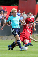 Connor Dymond of Welling tackles Charlton's George Lapslie during Welling United vs Charlton Athletic, Friendly Match Football at the Park View Road Ground on 13th July 2019