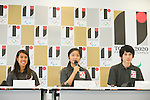 (L to R) <br /> Nicol David, <br /> Satomi Watanabe, <br /> Ryunosuke Tsukue, <br /> AUGUST 7, 2015 : <br /> World Squash Federation (WSF) <br /> holds a media conference following its interview <br /> with the Tokyo 2020 Organising Committee in Tokyo Japan. <br /> (Photo by YUTAKA/AFLO SPORT)